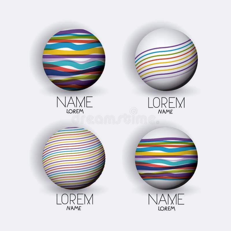 L'icône moderne de globes de logo abstrait a placé avec les lignes décoratives colorées illustration stock