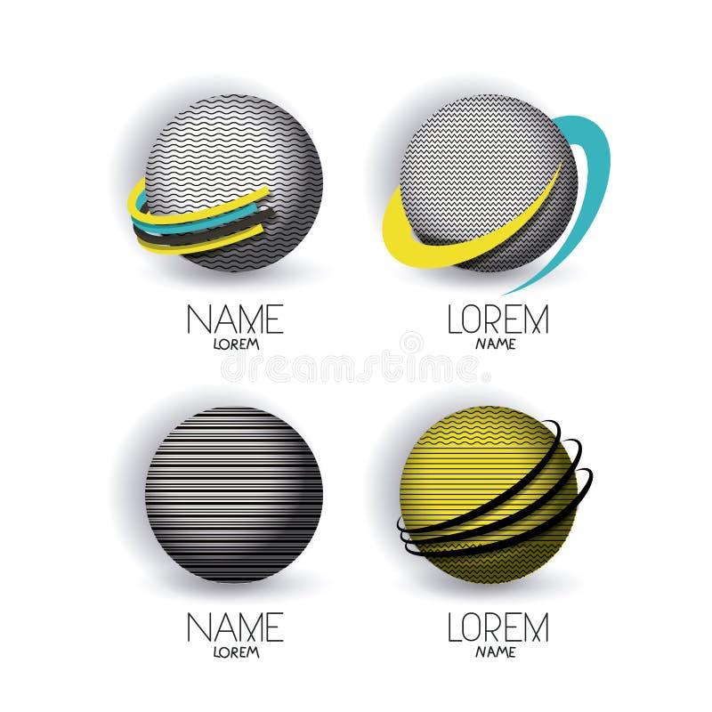 L'icône moderne de globes de logo abstrait a placé avec les lignes décoratives de couleur illustration de vecteur