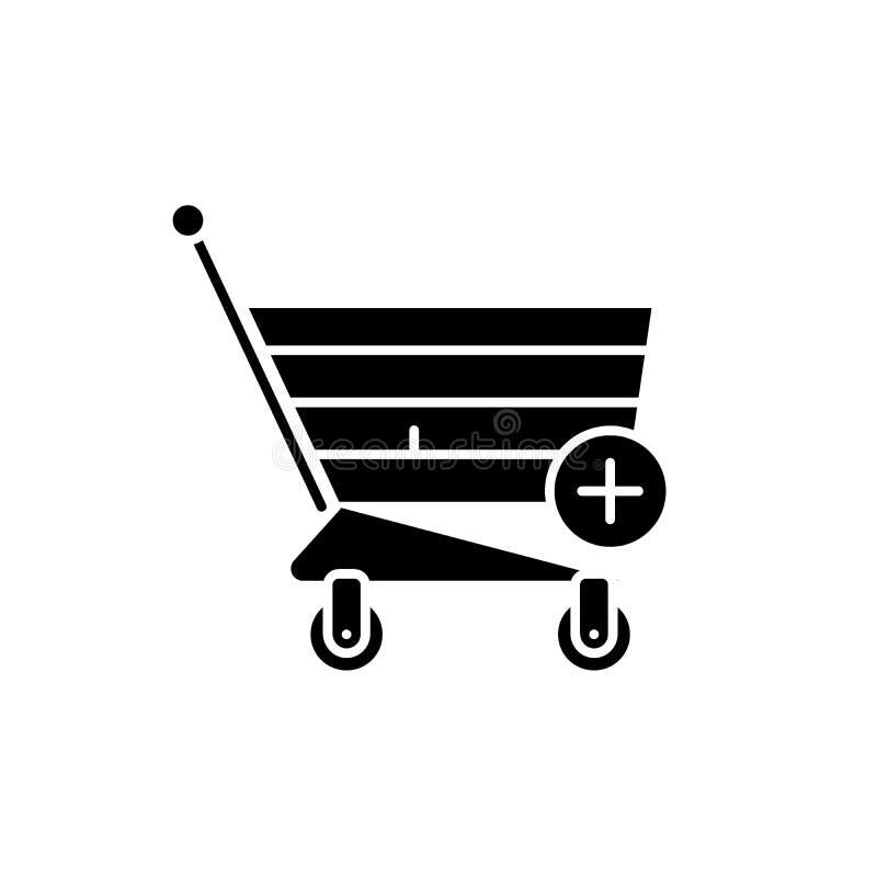 L'icône noire de achat en ligne, dirigent pour se connecter le fond d'isolement Symbole de achat en ligne de concept, illustratio illustration de vecteur