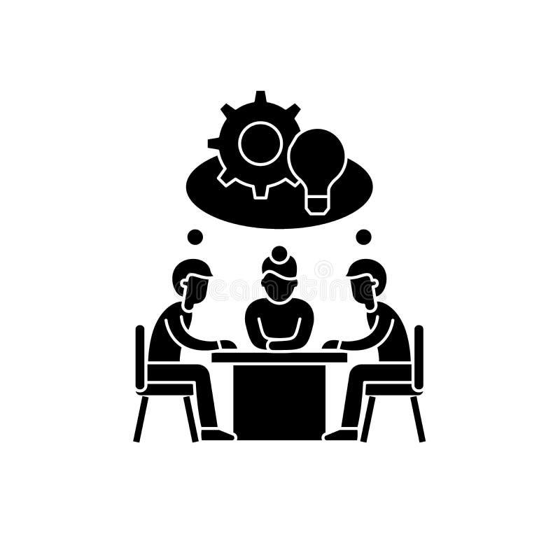 L'icône noire de créativité collective, dirigent pour se connecter le fond d'isolement Symbole collectif de concept de créativité illustration de vecteur
