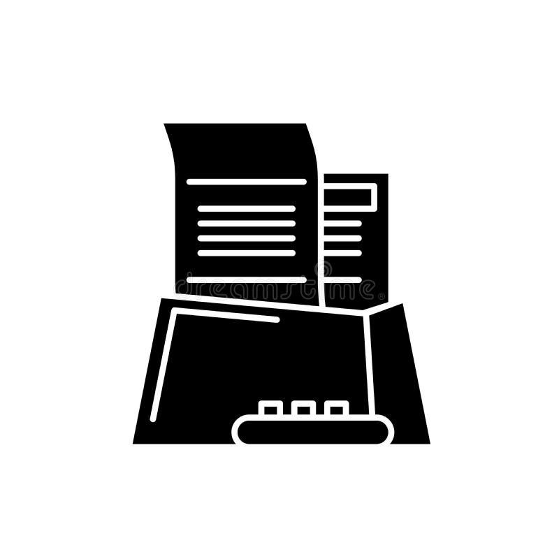 L'icône noire de papier de bureau, dirigent pour se connecter le fond d'isolement Symbole de concept de papier de bureau, illustr illustration stock