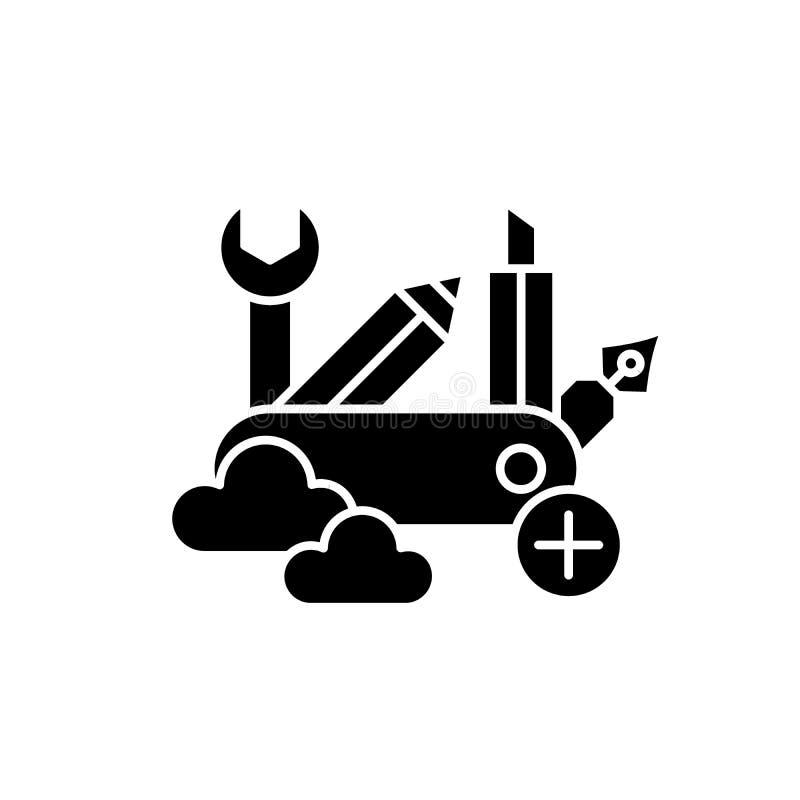 L'icône noire de qualifications d'affaires, dirigent pour se connecter le fond d'isolement Symbole de concept de qualifications d illustration stock