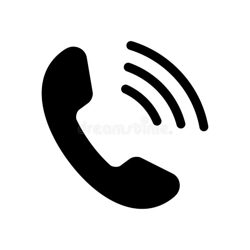 L'icône noire de téléphone a isolé Illustration de vecteur illustration stock