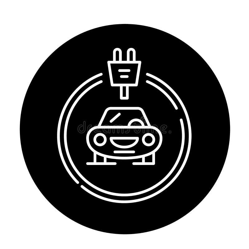 L'icône noire de voitures d'électricités, dirigent pour se connecter le fond d'isolement Symbole de concept de voitures d'électri illustration de vecteur