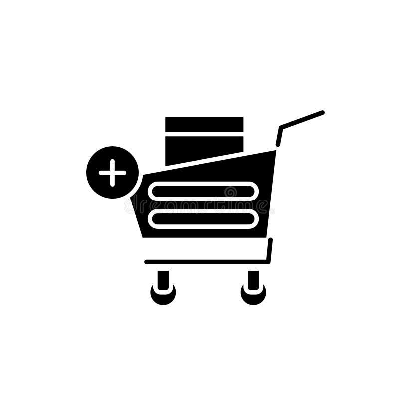 L'icône noire en ligne de achat, dirigent pour se connecter le fond d'isolement Symbole en ligne de achat de concept, illustratio illustration de vecteur