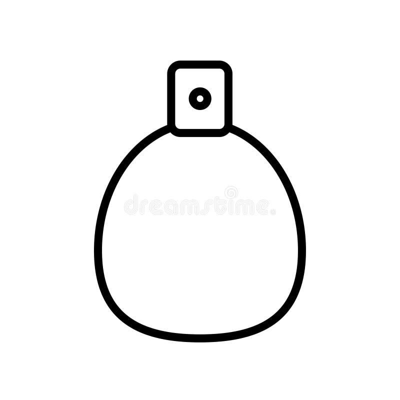 L'icône noire et blanche est les cosmétiques fascinants à la mode linéaires simples, bouteille en verre avec le parfum, adicolon, illustration de vecteur