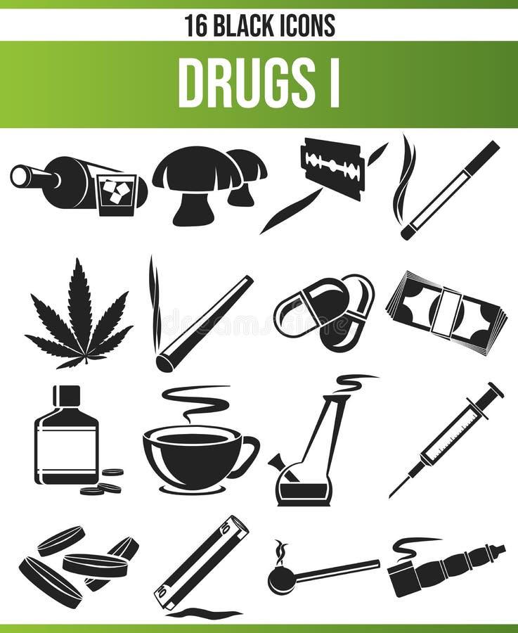 L'icône noire a placé les drogues I illustration libre de droits