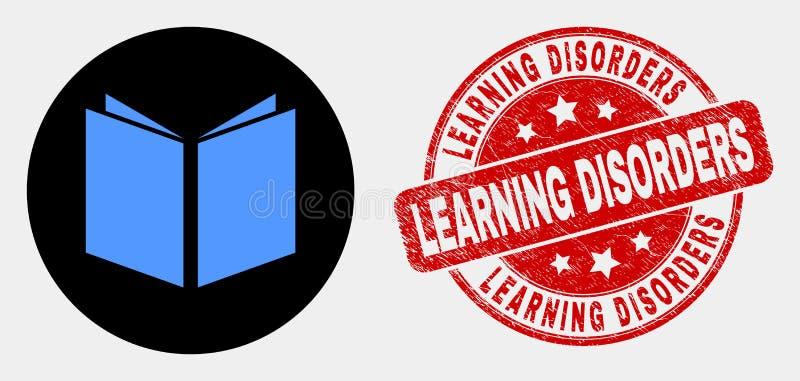 L'icône ouverte de livre de vecteur et les désordres d'étude grunges emboutissent le joint illustration libre de droits