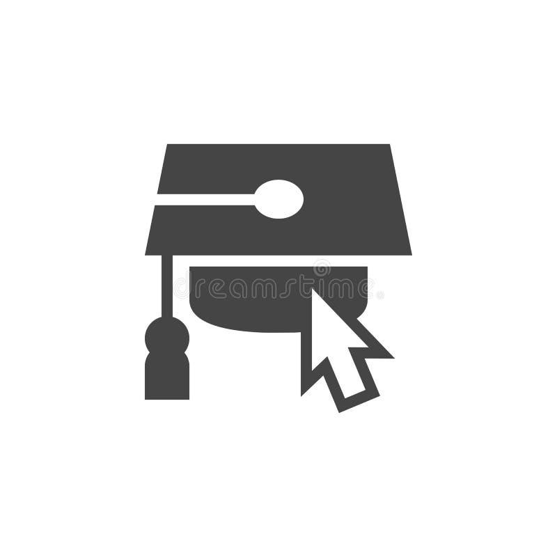 L'icône plate de curseur de chapeau et de souris d'obtention du diplôme pour les sites et les apps s'exerçants connecte, webinar  illustration libre de droits