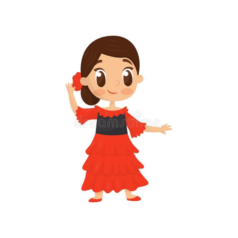 L'icône plate de vecteur de la fille de sourire dans l'Espagnol traditionnel portent Petit enfant dans la robe rouge lumineuse Co illustration libre de droits