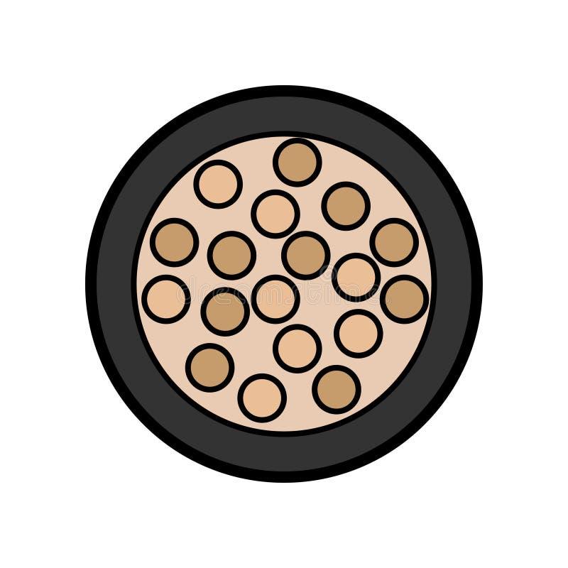 L'icône plate est une petite boîte ronde fascinante simple de poudre avec des boules de fard à paupières et de paupière pour appl illustration libre de droits