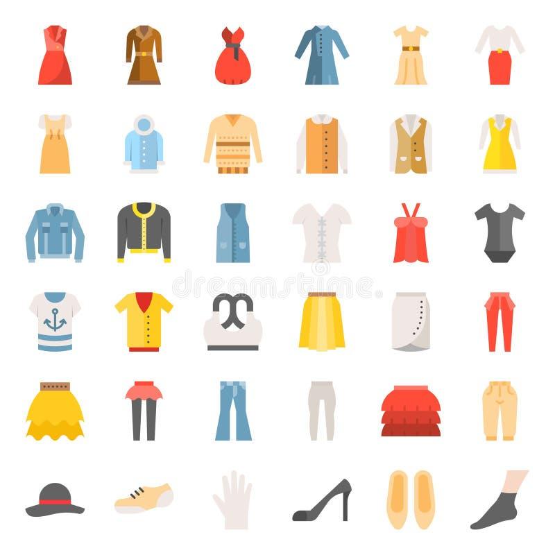 L'icône plate femelle de vêtements, de sac, de chaussures et d'accessoires a placé 3 illustration libre de droits