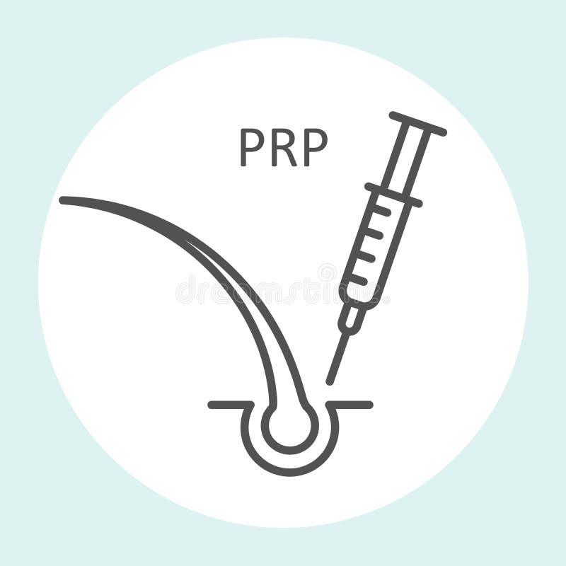 L'icône riche de plasma de plaquette, thérapie de prp, arrêtent la perte des cheveux - seringue et cheveux illustration libre de droits