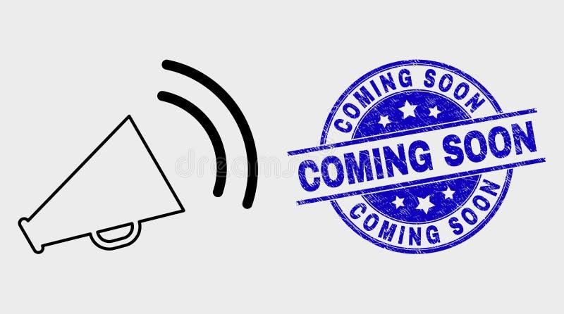 L'icône saine de mégaphone linéaire de vecteur et a rayé venir bientôt filigrane illustration libre de droits