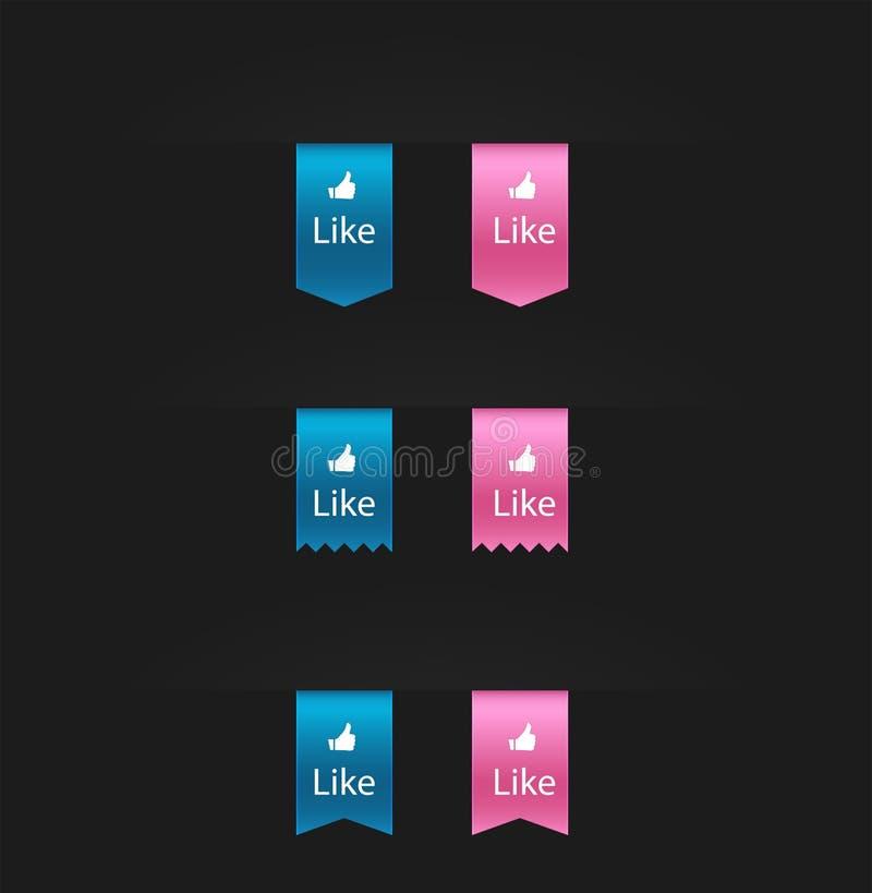 L'icône sociale d'autocollant d'estimation de réseau de conception plate manie maladroitement vers le haut de l'icône illustration stock
