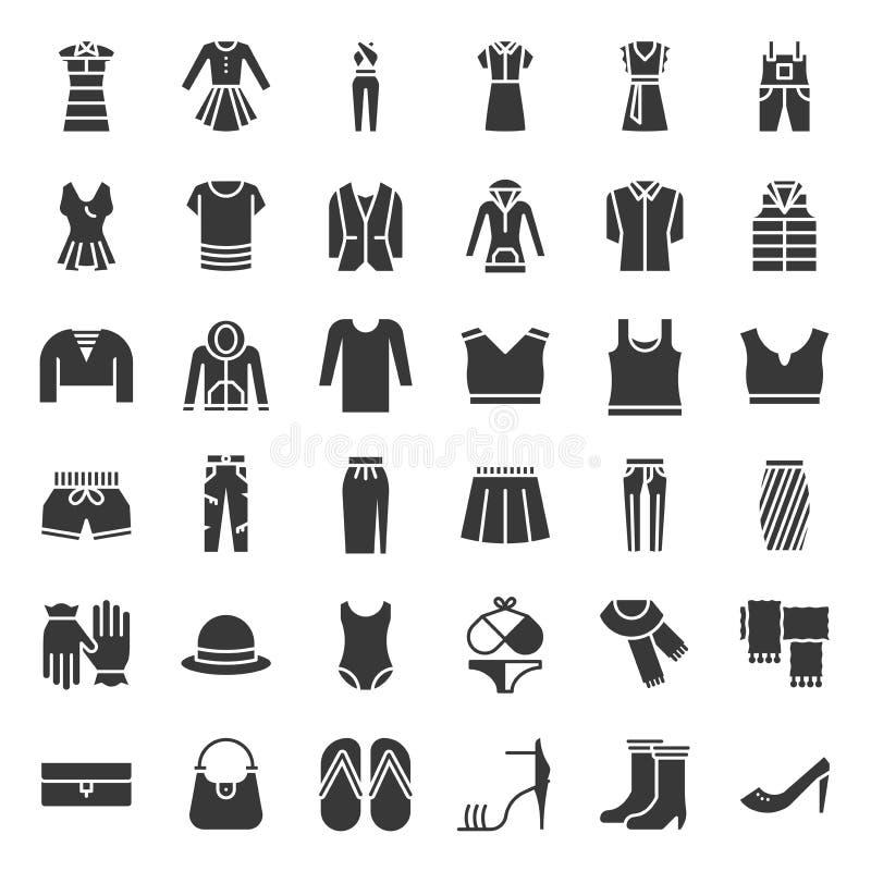 L'icône solide femelle de vêtements, de sac, de chaussures et d'accessoires a placé 2 illustration libre de droits