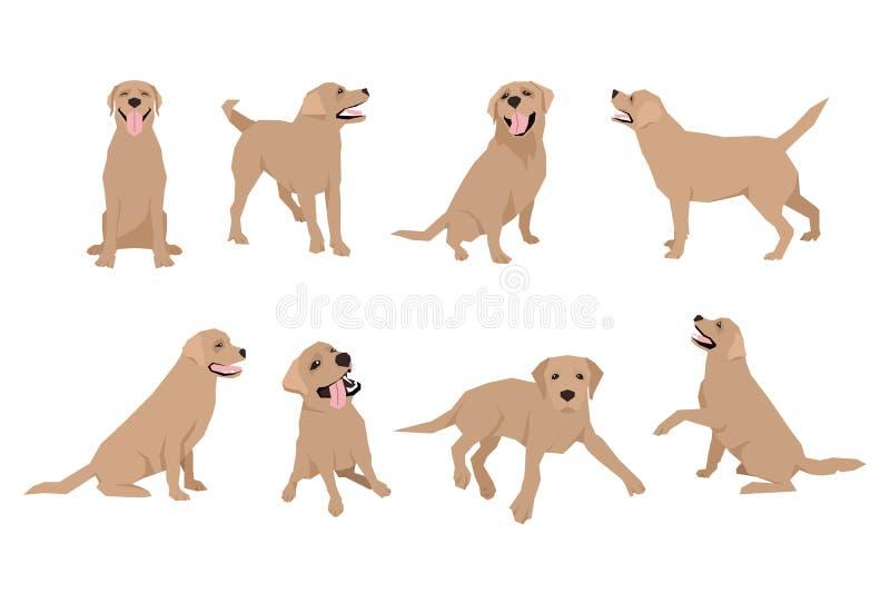 L'icône animale de caractère de Labrador de chien a placé dans le style plat Descripteur de conception illustration stock