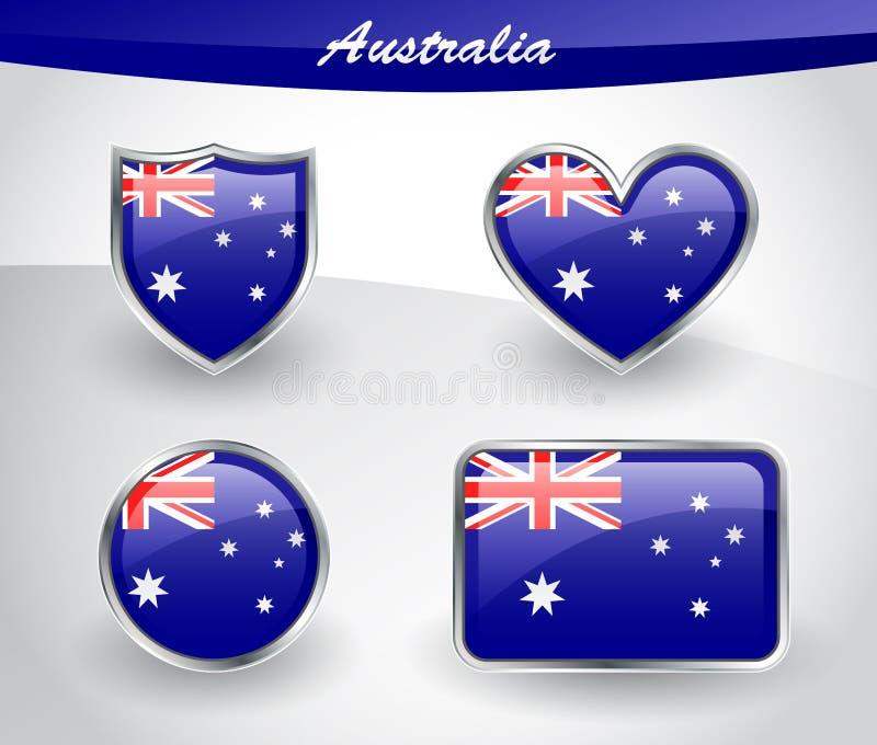 L'icône brillante de drapeau d'Australie a placé avec le bouclier, coeur, cercle, rectums illustration de vecteur