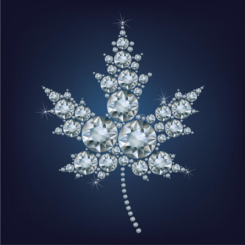 L'icône canadienne de feuille d'érable a fait beaucoup de diamants illustration de vecteur