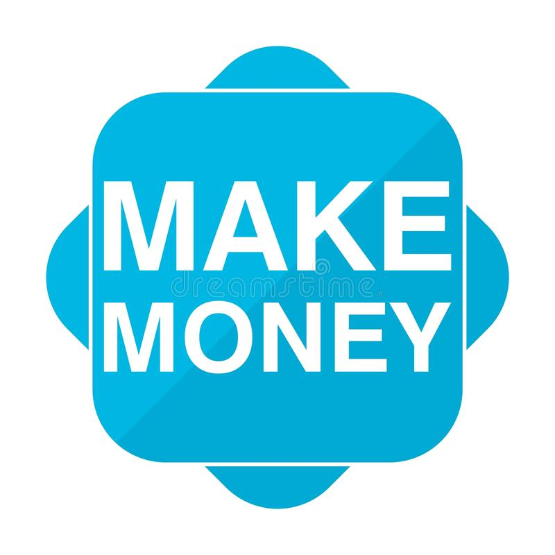 L'icône carrée bleue gagnent l'argent illustration libre de droits