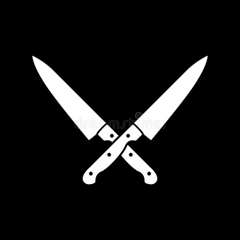 L'icône croisée de couteaux Couteau et chef, symbole de cuisine plat illustration libre de droits