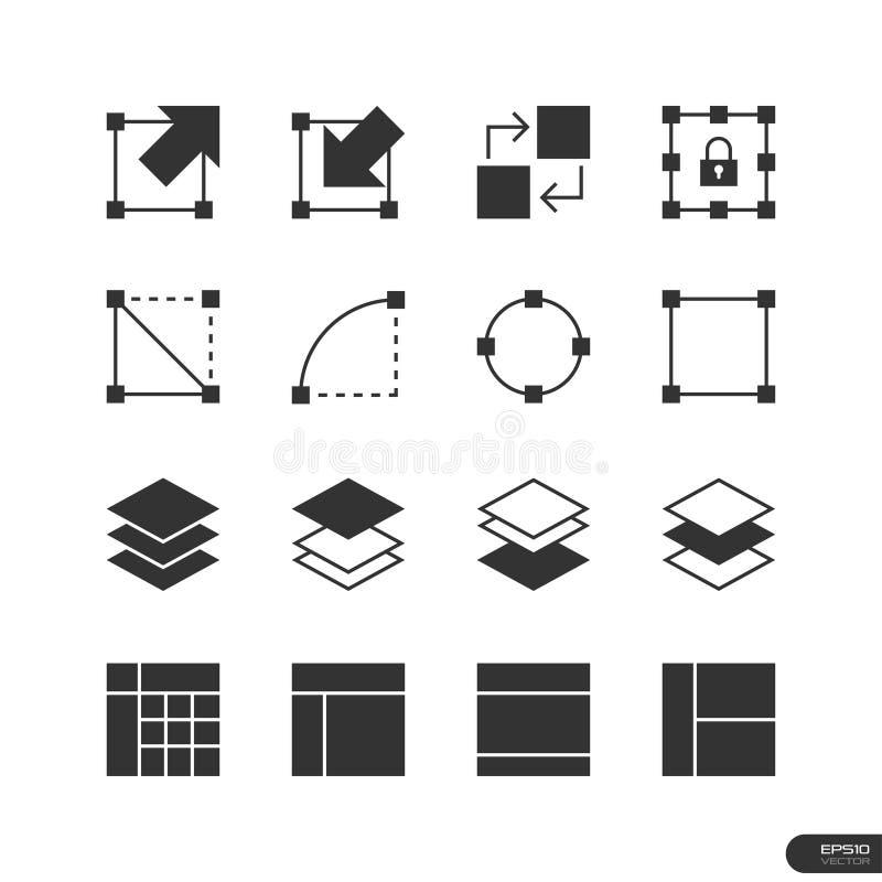 L'icône d'éléments d'interface utilisateurs et de conception a placé - dirigez l'illustration illustration libre de droits