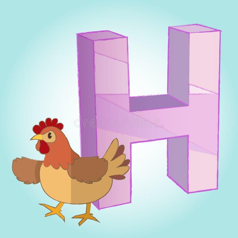 L'icône d'alphabet et de poule de H grande pour en emploient Vecteur eps10 illustration libre de droits