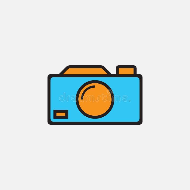 L'icône d'appareil-photo, illustration de logo de vecteur d'ensemble, a rempli pictogramme linéaire de couleur d'isolement sur le illustration libre de droits