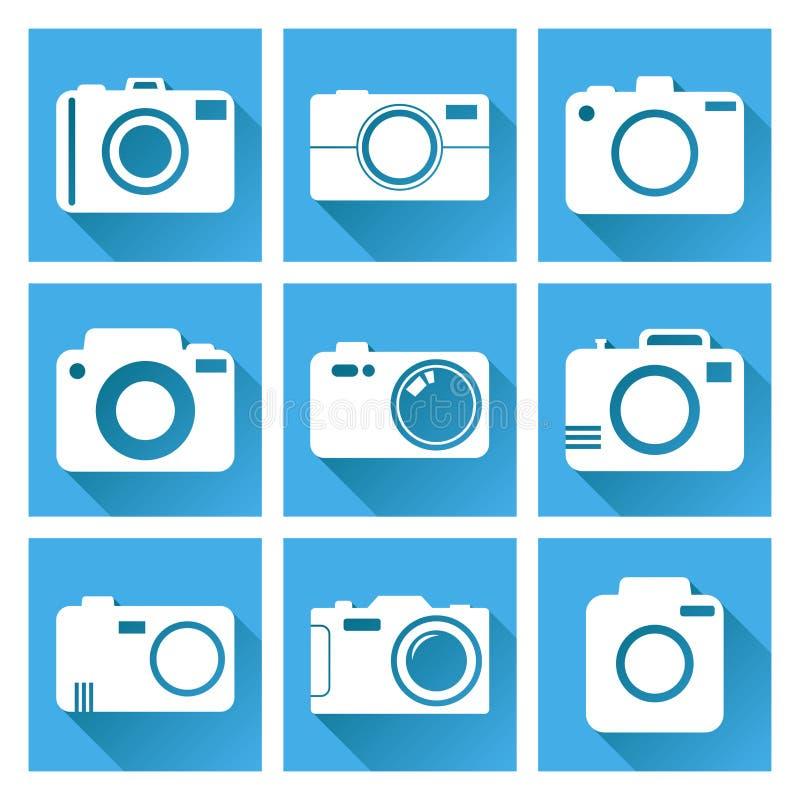 L'icône d'appareil-photo a placé sur le fond bleu avec la longue ombre Illu de vecteur illustration libre de droits