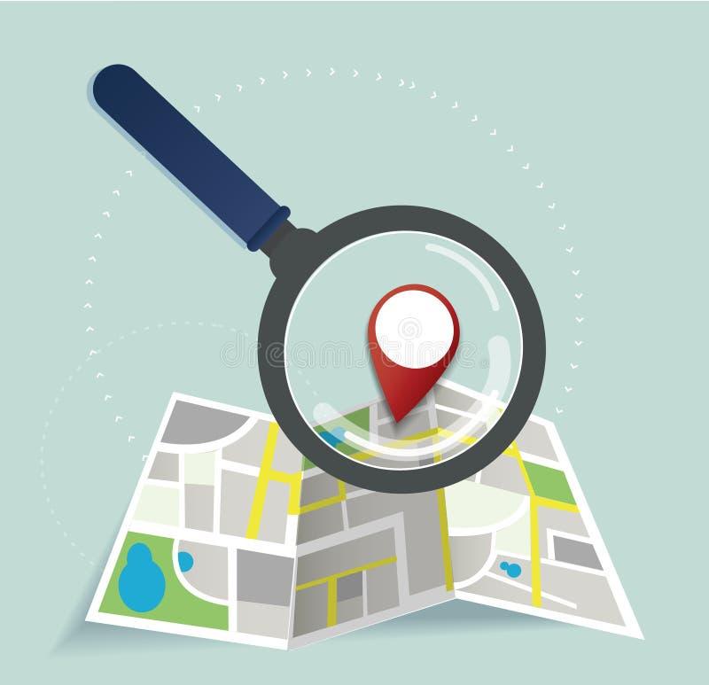 L'icône d'emplacement de loupe et de goupille et vecteur de carte, le concept du voyage illustration de vecteur