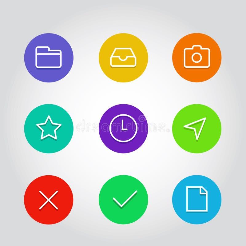 L'icône d'ensemble a placé avec l'horloge, la flèche et les éléments de navigation illustration libre de droits