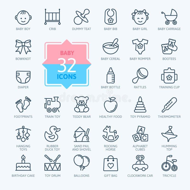 L'icône d'ensemble a placé - des jouets, l'alimentation et le soin de bébé illustration stock