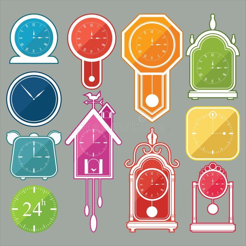 L'icône d'horloge a placé 3 illustration de vecteur