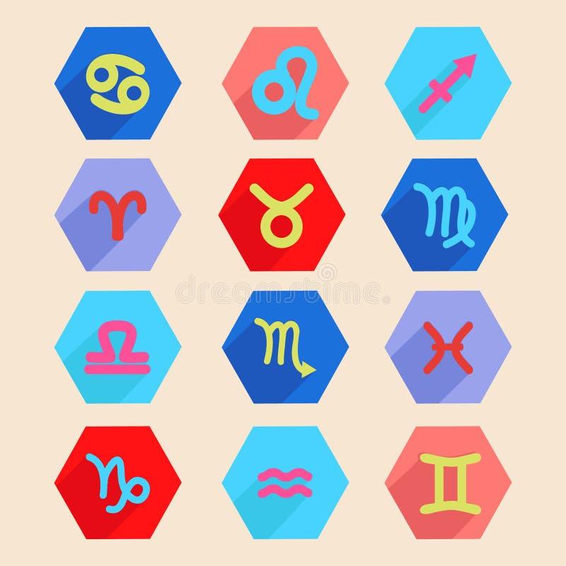 L'icône d'horoscope a placé dans le style plat, signes de zodiaque illustration stock