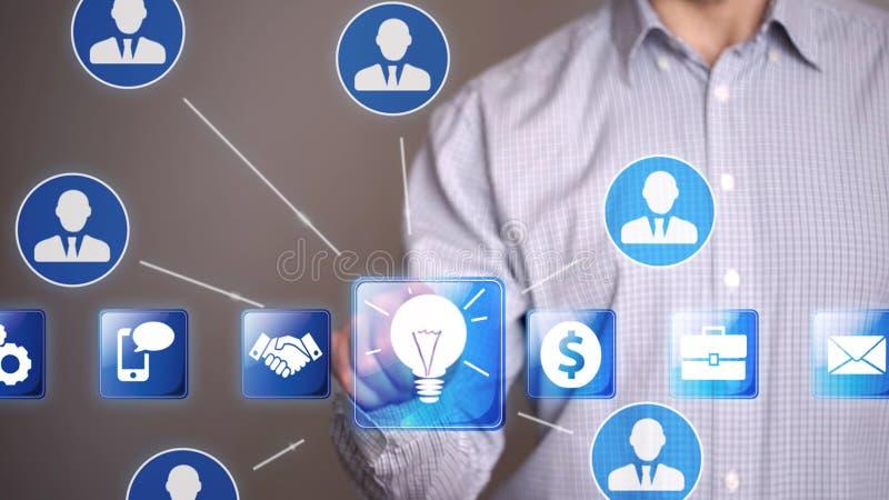 L'icône d'idée de contact d'homme d'affaires et appellent des associés image stock
