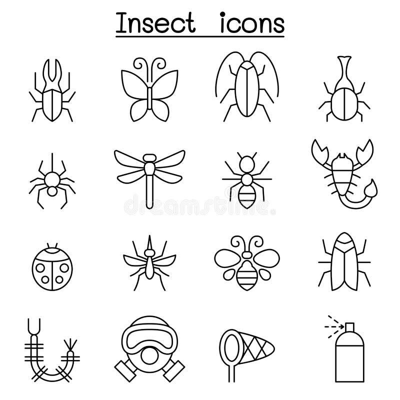 L'icône d'insecte et d'insecte a placé dans la ligne style mince illustration stock