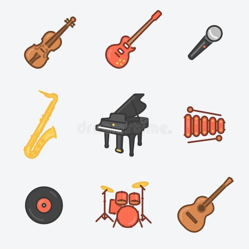 L'icône d'instruments de musique a placé (violon, guitare électrique, MIC, saxophone, royal, xylophone, cire, tambours, guitare c illustration de vecteur