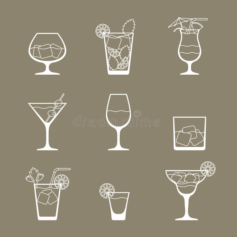 L'icône de boissons et de cocktails d'alcool a placé dans l'appartement illustration libre de droits