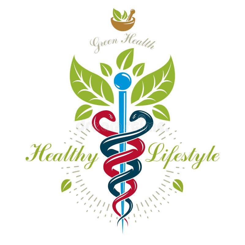 L'icône de caducée de pharmacie, dirigent le logo médical pour l'usage dans holistique illustration stock