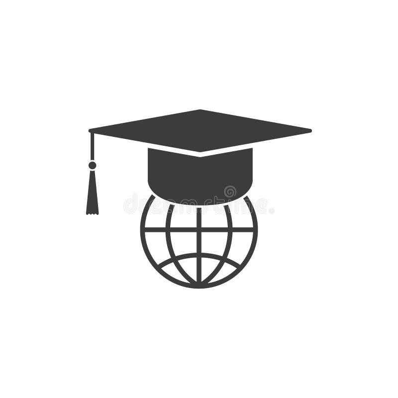L'icône de chapeau et de globe d'obtention du diplôme illustration libre de droits
