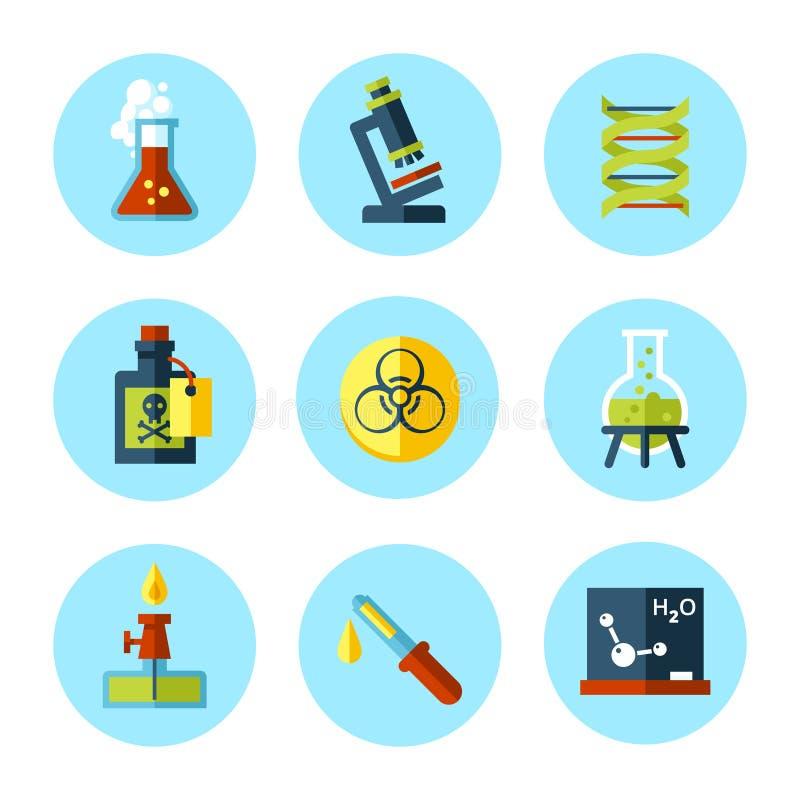 L'icône de chimie de vecteur a placé dans le style plat moderne illustration libre de droits