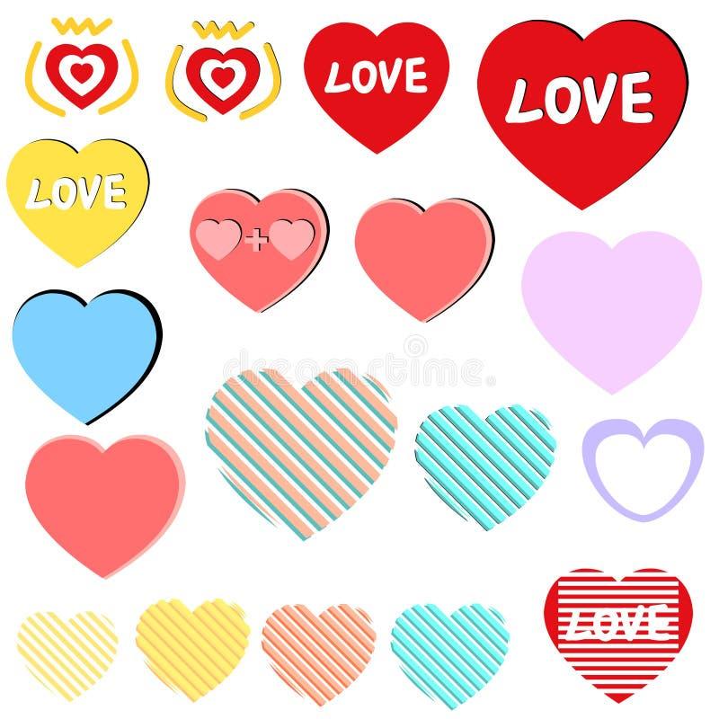 L'icône de coeur d'amour a placé/collection, étiquettes, autocollants photos stock