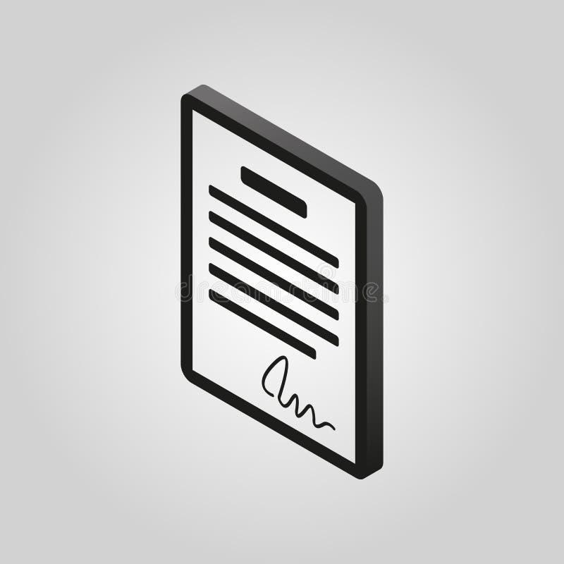 L'icône de contrat Accord et signature, pacte, Accord, symbole de convention 3D isométrique Vecteur plat illustration libre de droits