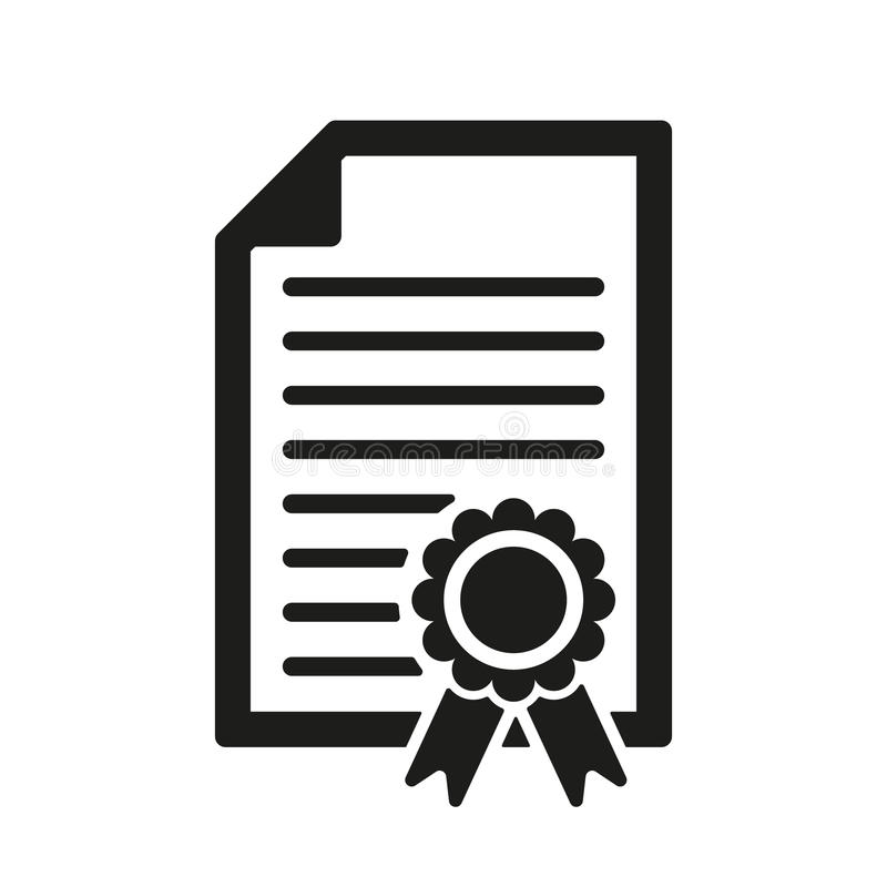 L'icône de diplôme Symbole de certificat plat illustration de vecteur