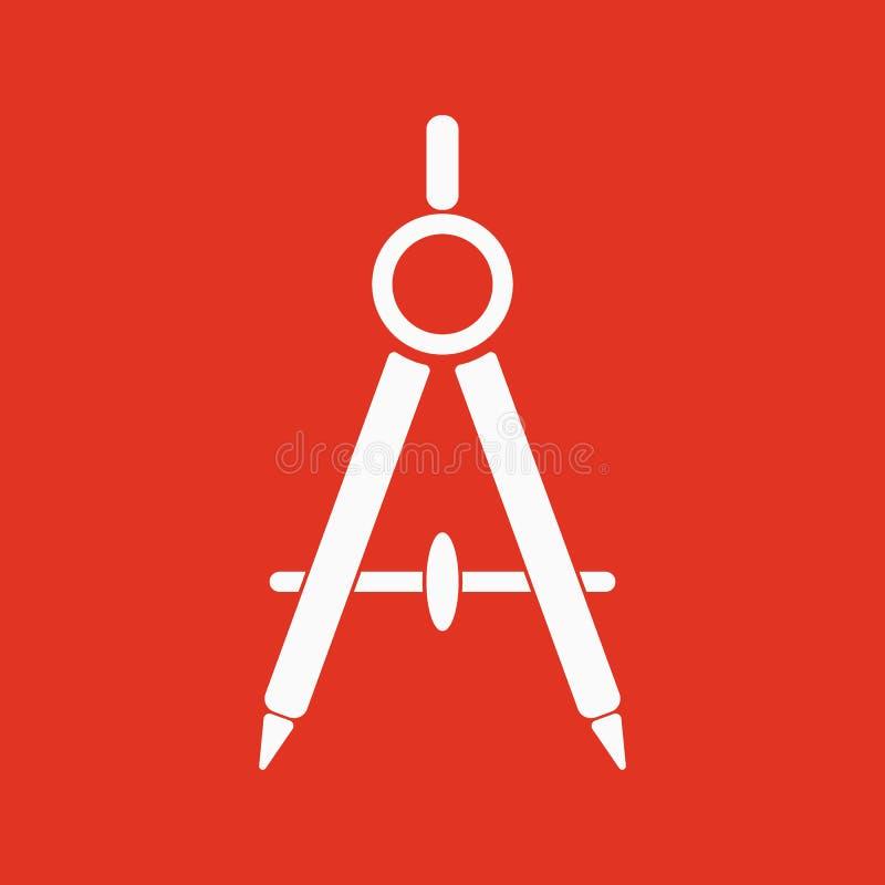 L'icône de diviseur Arpenteur et géométrie, ingénieur, architecte, symbole d'école plat illustration de vecteur