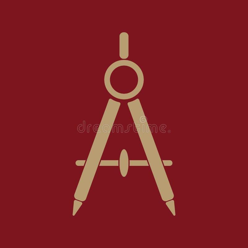 L'icône de diviseur Arpenteur et géométrie, ingénieur, architecte, symbole d'école plat illustration libre de droits