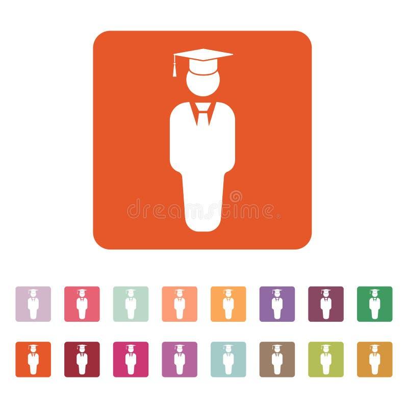 L'icône de garçon d'étudiant École et académie, université, symbole d'éducation plat illustration libre de droits