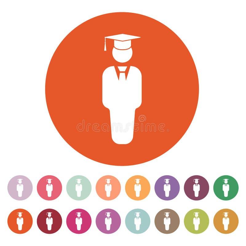 L'icône de garçon d'étudiant École et académie, université, symbole d'éducation plat illustration de vecteur