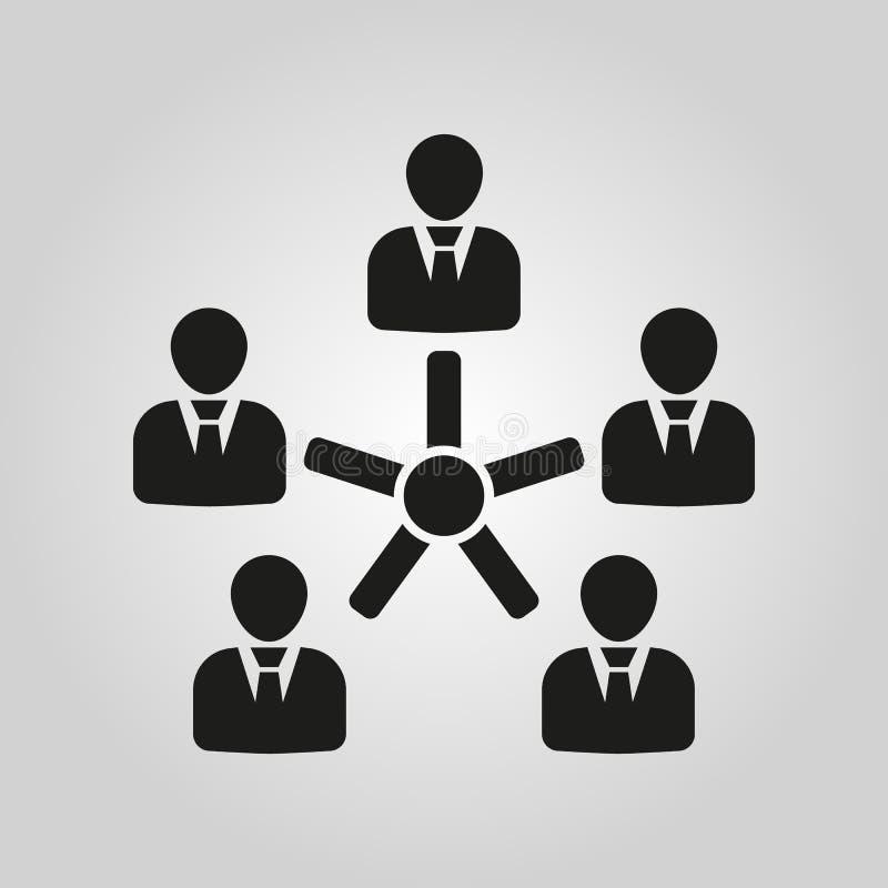 L'icône de gestion Équipe et groupe, travail d'équipe, les gens, symbole d'alliance Ui web logo signe Conception plate app illustration stock