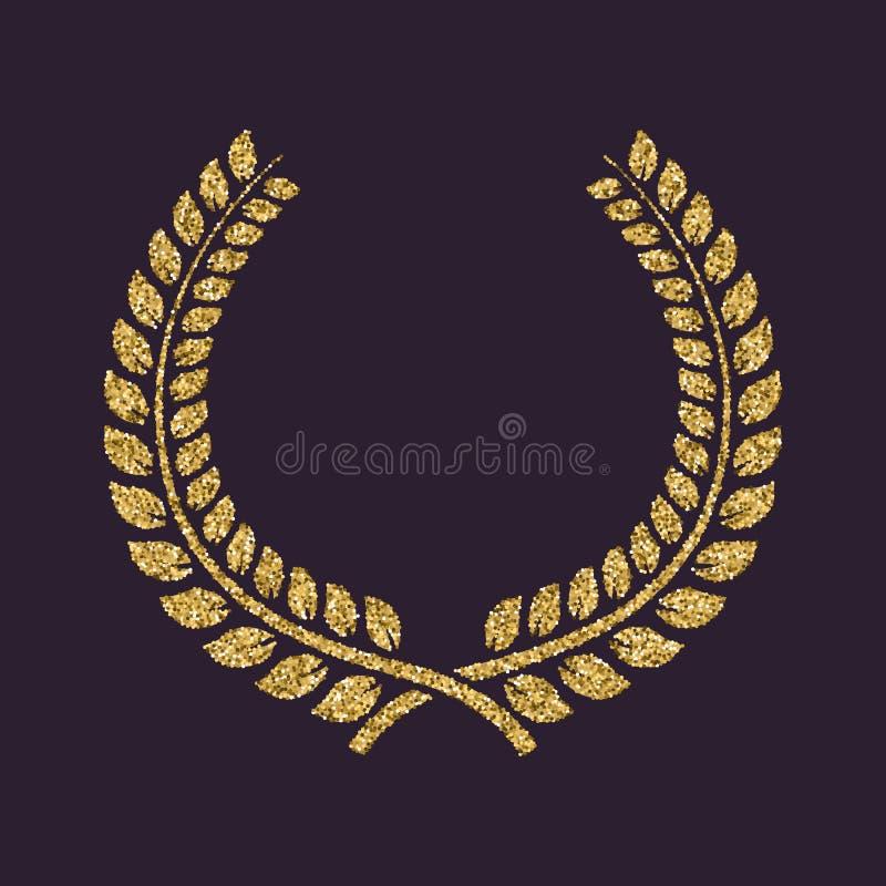 L'icône de guirlande de laurier Prix et récompense, symbole d'honneurs Étincelles et scintillement d'or illustration stock